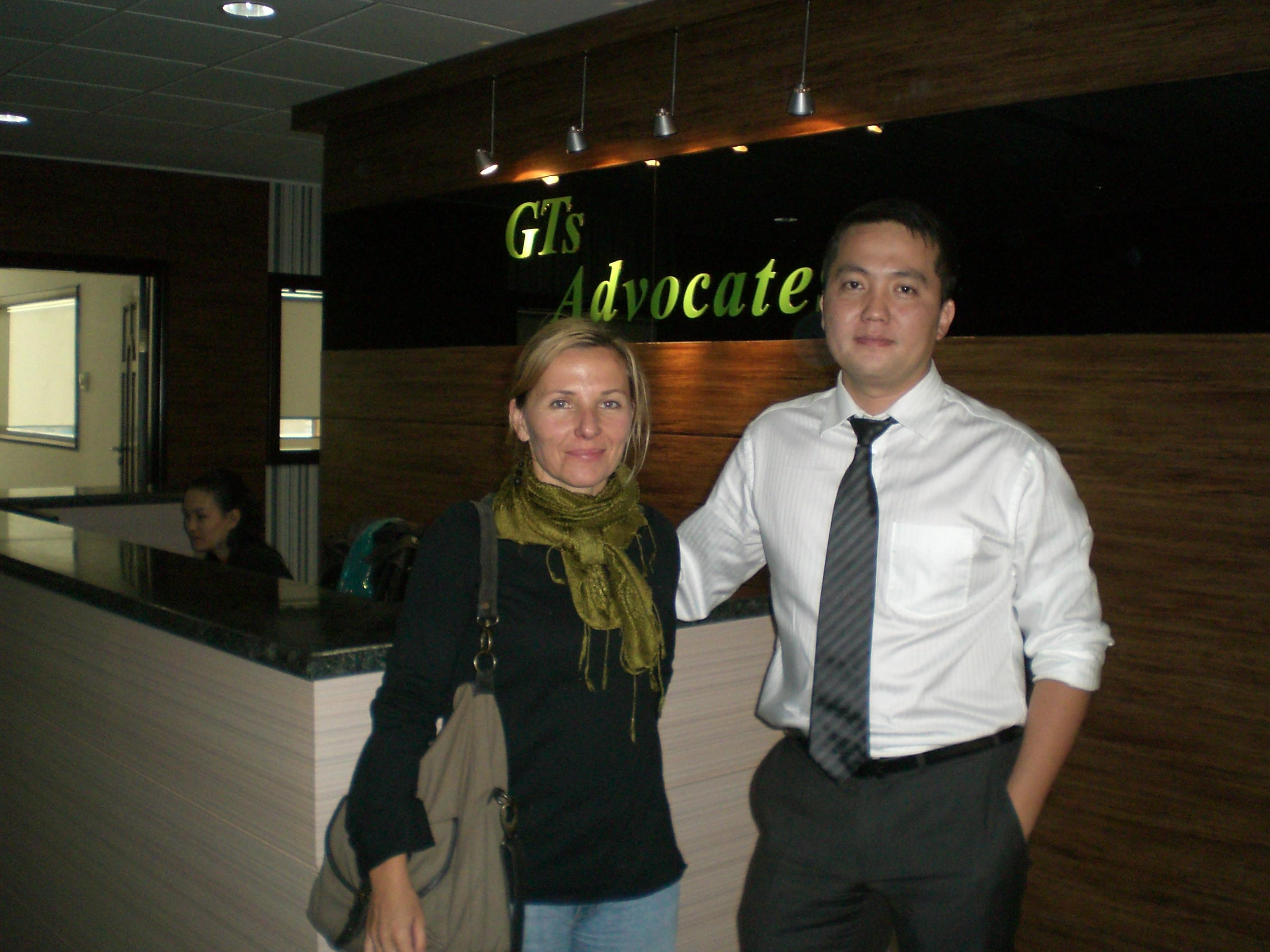 A local supervisor with an intern doing a Human Rights placement at an NGO in Mongolia.